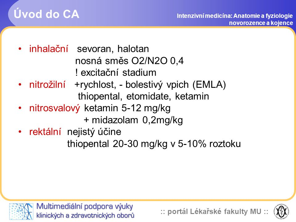Úvod do CA inhalační sevoran, halotan nosná směs O2/N2O 0,4