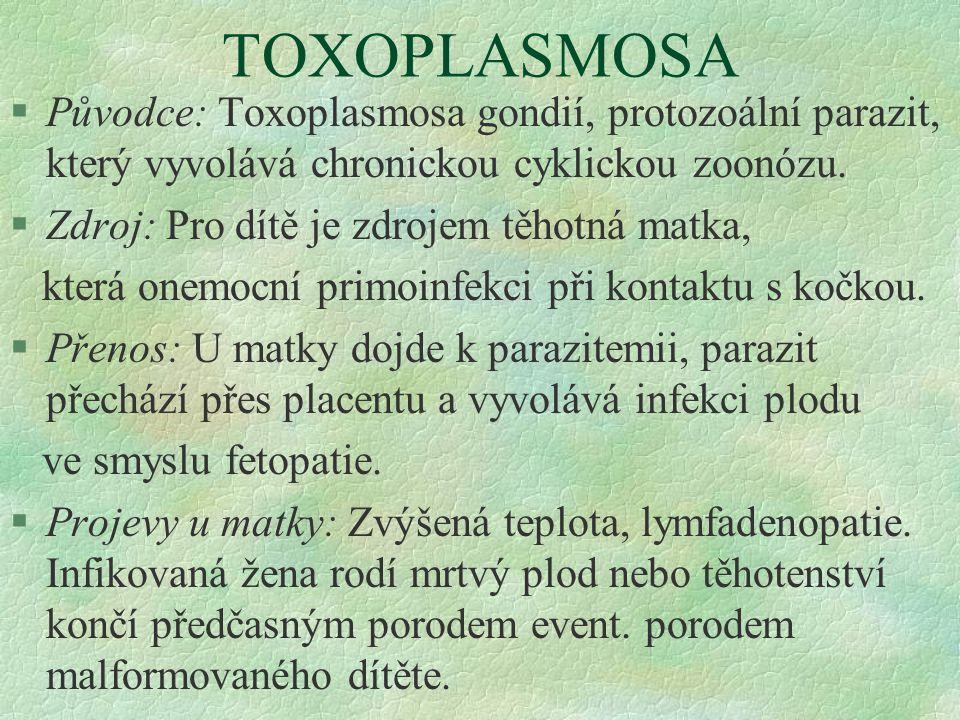 TOXOPLASMOSA Původce: Toxoplasmosa gondií, protozoální parazit, který vyvolává chronickou cyklickou zoonózu.