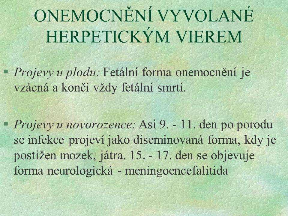 ONEMOCNĚNÍ VYVOLANÉ HERPETICKÝM VIEREM
