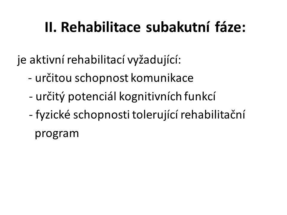 II. Rehabilitace subakutní fáze: