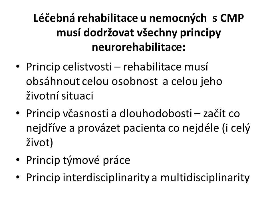 Léčebná rehabilitace u nemocných s CMP musí dodržovat všechny principy neurorehabilitace: