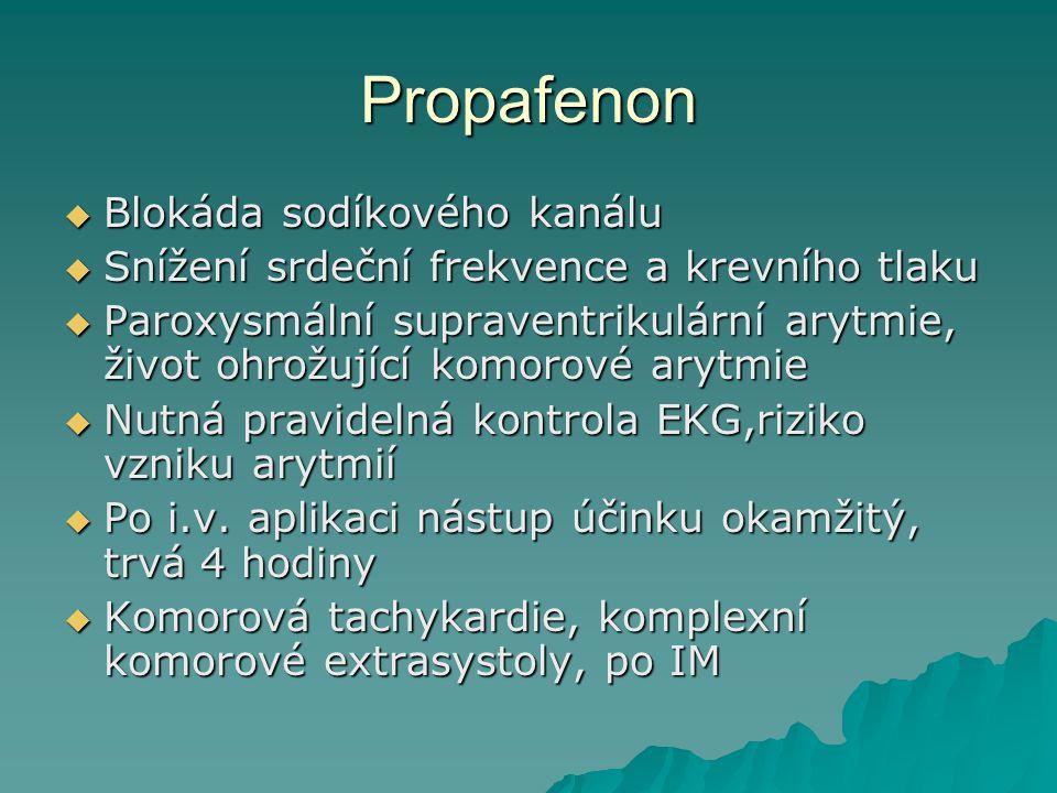 Propafenon Blokáda sodíkového kanálu