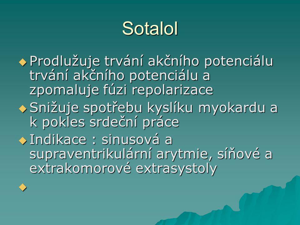 Sotalol Prodlužuje trvání akčního potenciálu trvání akčního potenciálu a zpomaluje fúzi repolarizace.