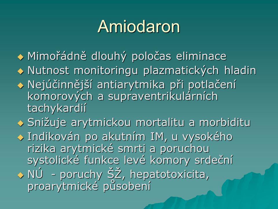 Amiodaron Mimořádně dlouhý poločas eliminace
