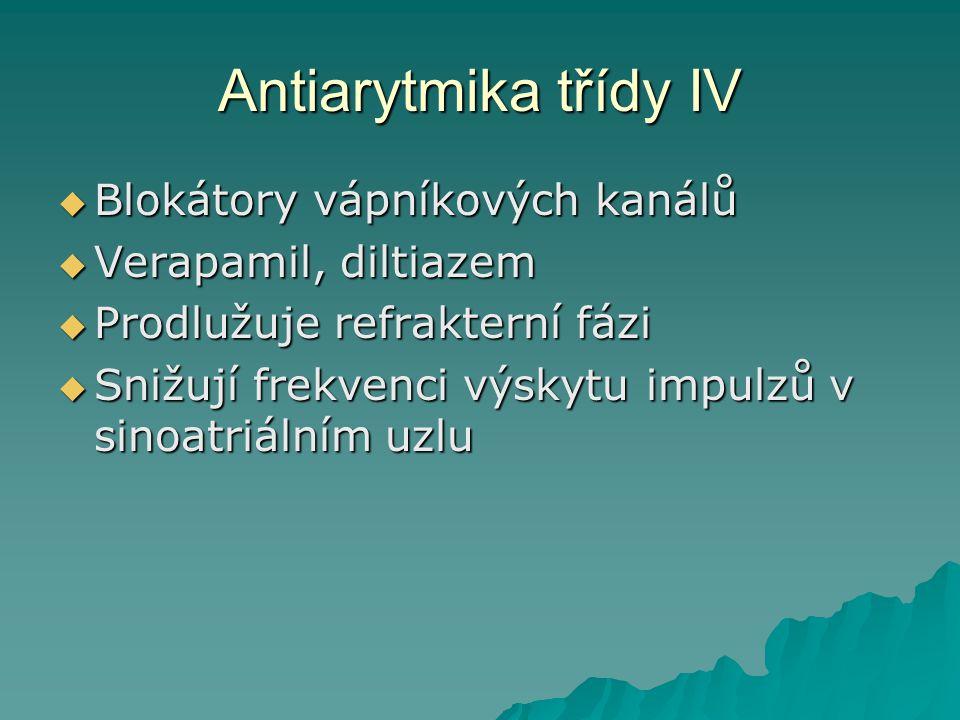 Antiarytmika třídy IV Blokátory vápníkových kanálů