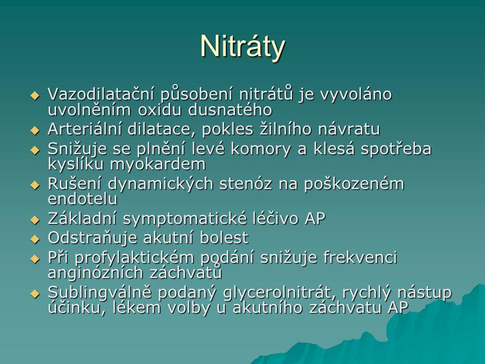 Nitráty Vazodilatační působení nitrátů je vyvoláno uvolněním oxidu dusnatého. Arteriální dilatace, pokles žilního návratu.