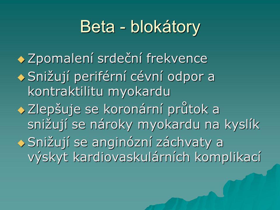 Beta - blokátory Zpomalení srdeční frekvence
