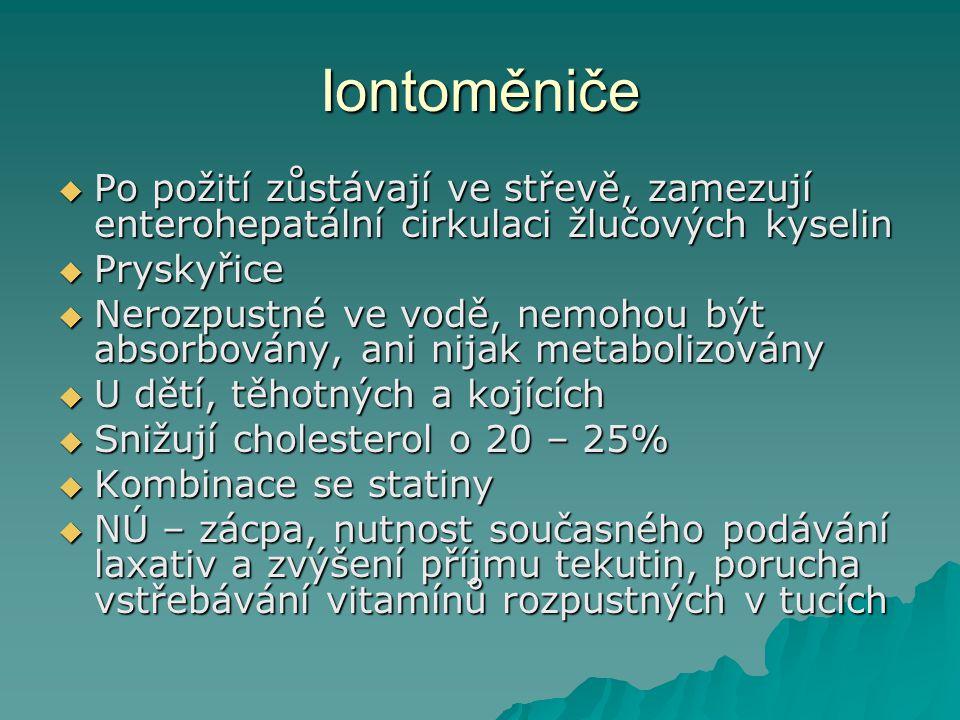 Iontoměniče Po požití zůstávají ve střevě, zamezují enterohepatální cirkulaci žlučových kyselin. Pryskyřice.