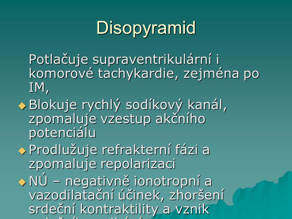 Disopyramid Potlačuje supraventrikulární i komorové tachykardie, zejména po IM, Blokuje rychlý sodíkový kanál, zpomaluje vzestup akčního potenciálu.