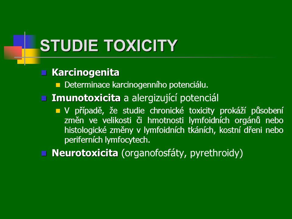 STUDIE TOXICITY Karcinogenita Imunotoxicita a alergizující potenciál