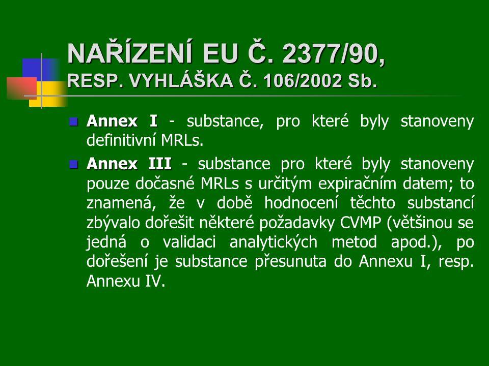 NAŘÍZENÍ EU Č. 2377/90, RESP. VYHLÁŠKA Č. 106/2002 Sb.