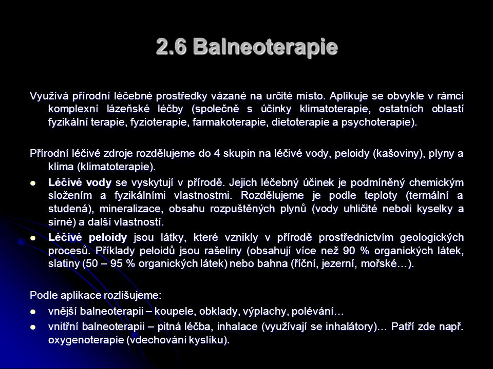 2.6 Balneoterapie