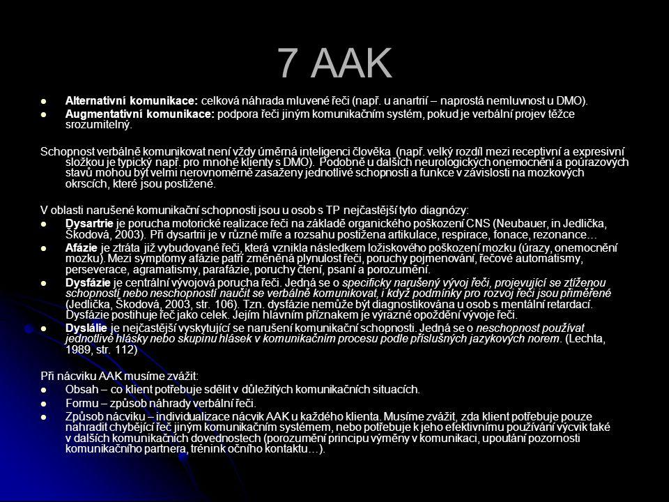 7 AAK Alternativní komunikace: celková náhrada mluvené řeči (např. u anartrií – naprostá nemluvnost u DMO).