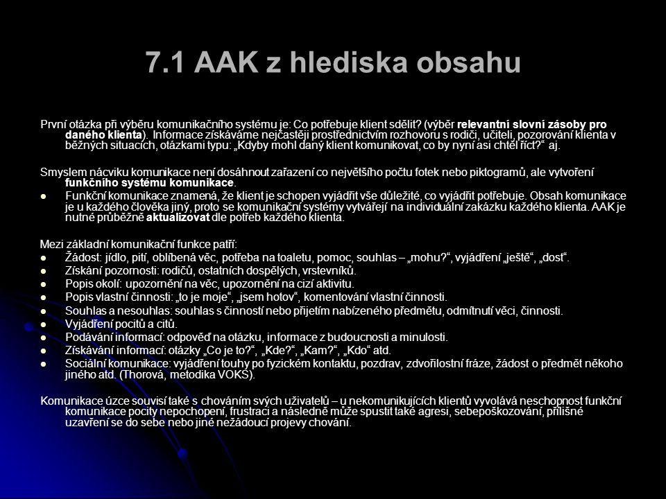 7.1 AAK z hlediska obsahu