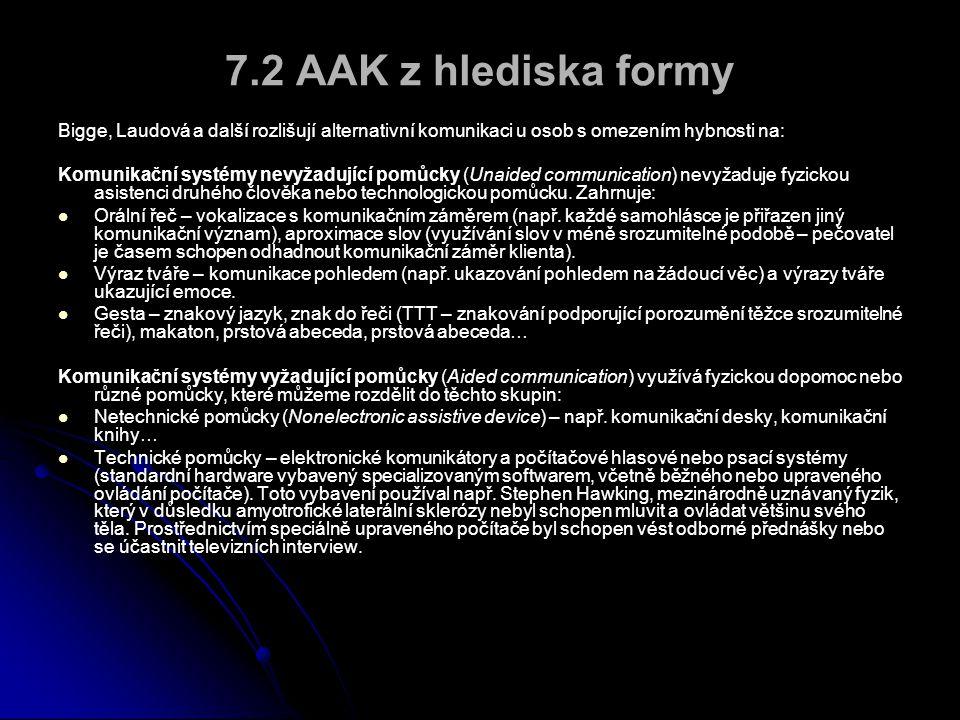 7.2 AAK z hlediska formy Bigge, Laudová a další rozlišují alternativní komunikaci u osob s omezením hybnosti na: