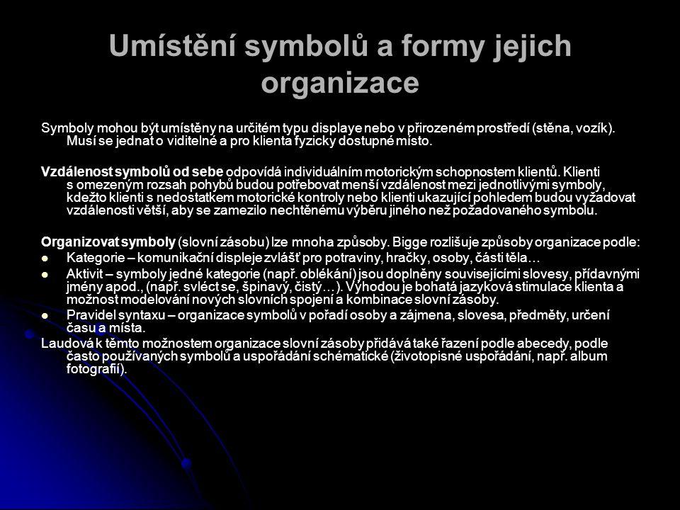 Umístění symbolů a formy jejich organizace