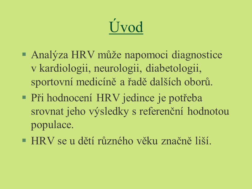 Úvod Analýza HRV může napomoci diagnostice v kardiologii, neurologii, diabetologii, sportovní medicíně a řadě dalších oborů.
