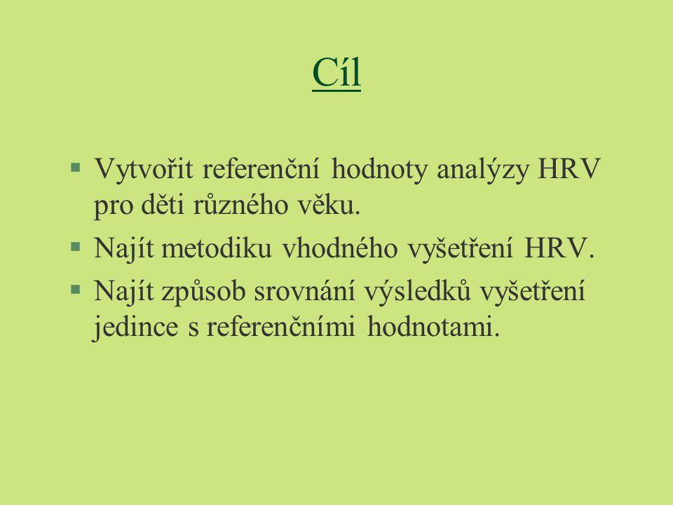 Cíl Vytvořit referenční hodnoty analýzy HRV pro děti různého věku.