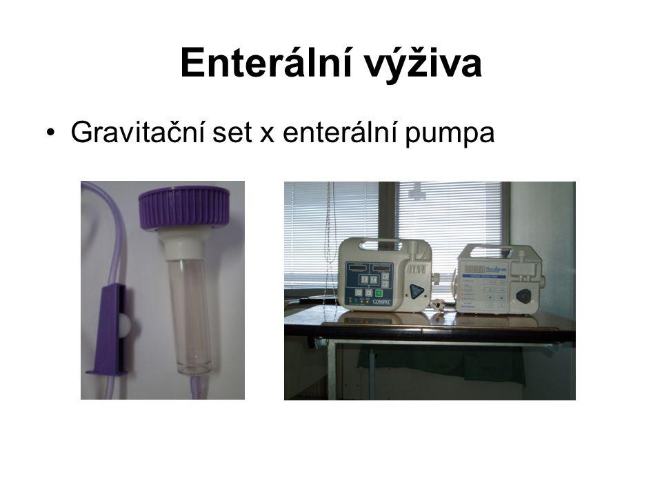 Enterální výživa Gravitační set x enterální pumpa