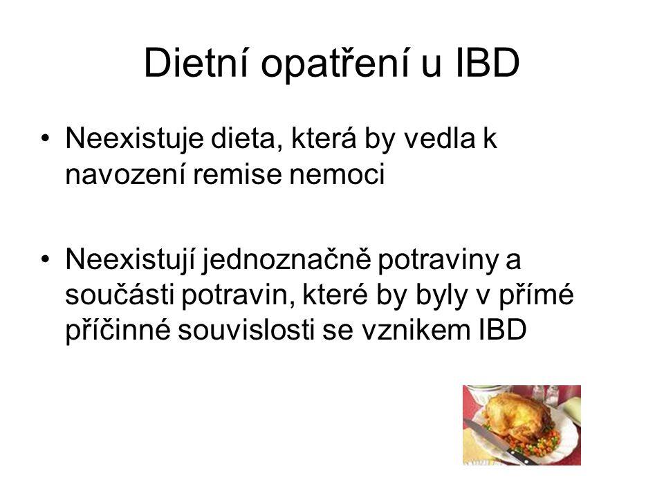 Dietní opatření u IBD Neexistuje dieta, která by vedla k navození remise nemoci.