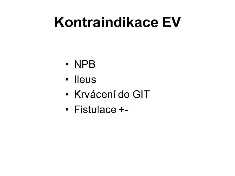 Kontraindikace EV NPB Ileus Krvácení do GIT Fistulace +-
