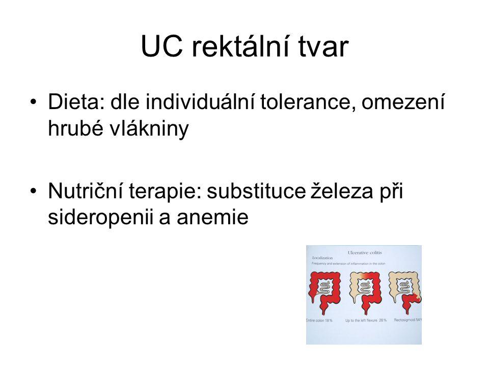 UC rektální tvar Dieta: dle individuální tolerance, omezení hrubé vlákniny.