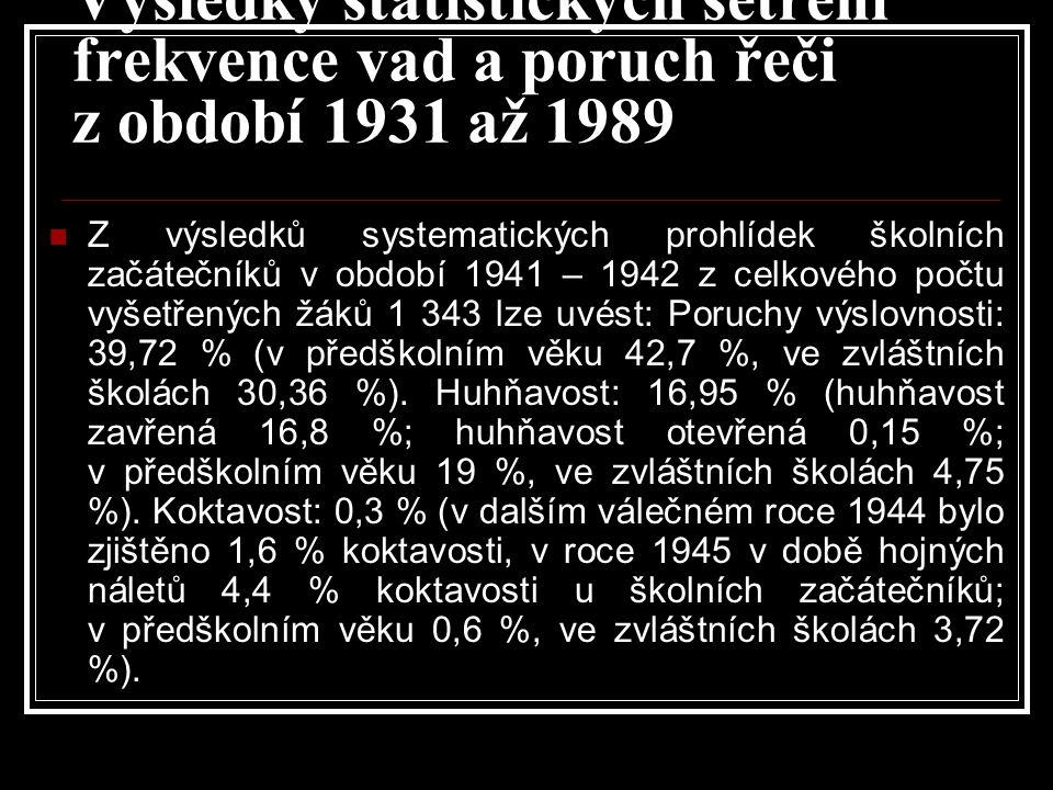 Výsledky statistických šetření frekvence vad a poruch řeči z období 1931 až 1989