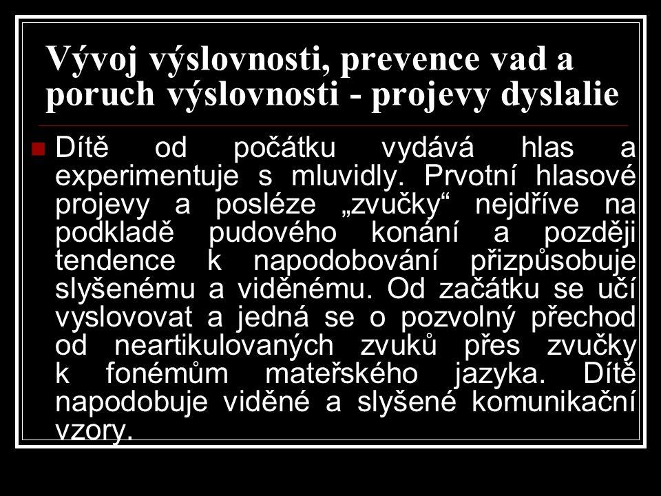 Vývoj výslovnosti, prevence vad a poruch výslovnosti - projevy dyslalie