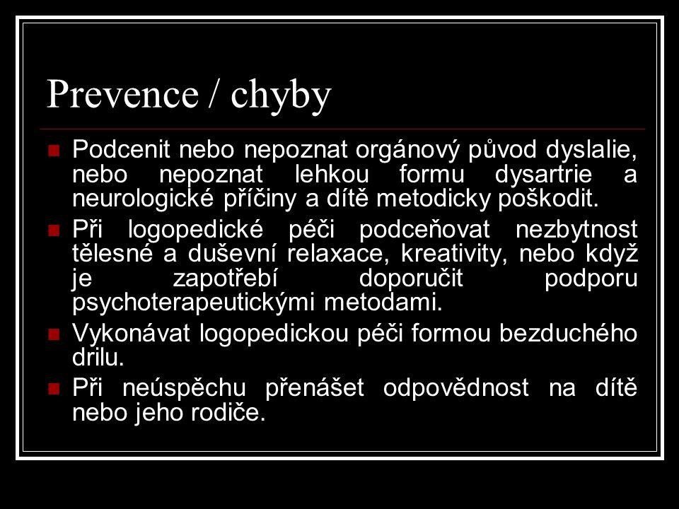 Prevence / chyby