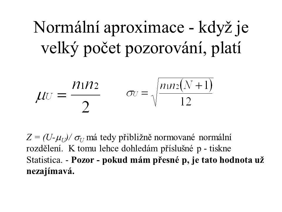 Normální aproximace - když je velký počet pozorování, platí