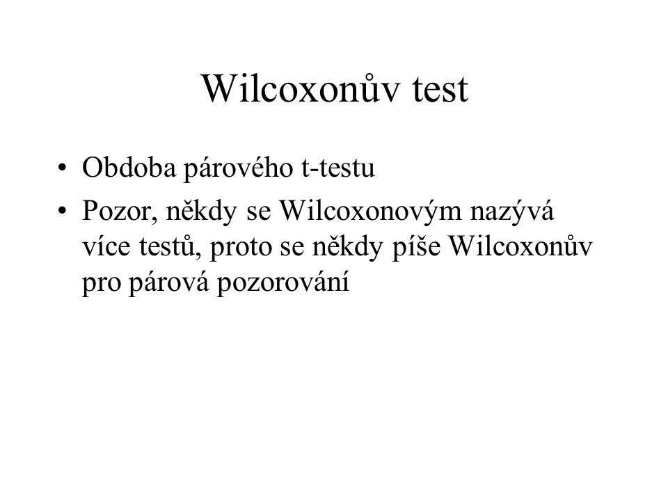 Wilcoxonův test Obdoba párového t-testu