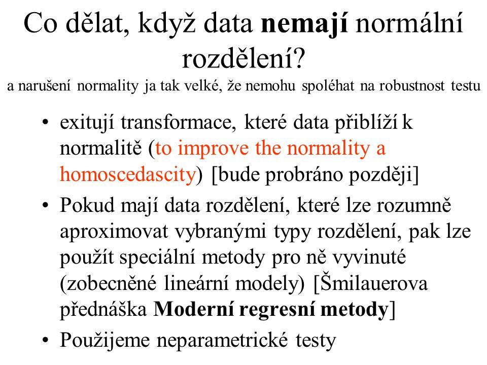 Co dělat, když data nemají normální rozdělení