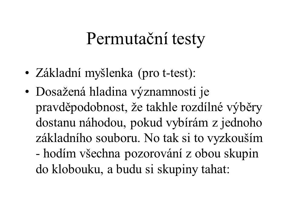 Permutační testy Základní myšlenka (pro t-test):