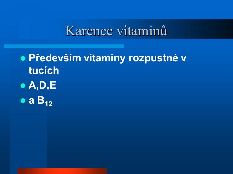 Karence vitaminů Především vitaminy rozpustné v tucích A,D,E a B12