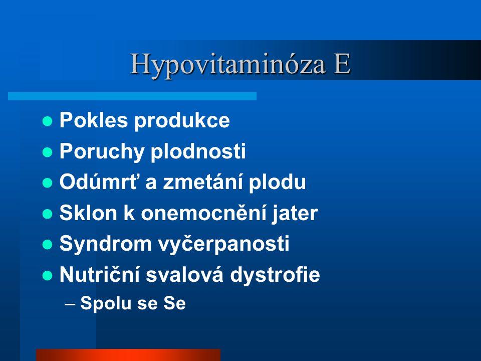 Hypovitaminóza E Pokles produkce Poruchy plodnosti