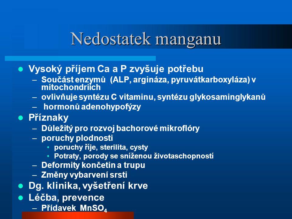 Nedostatek manganu Vysoký příjem Ca a P zvyšuje potřebu Příznaky