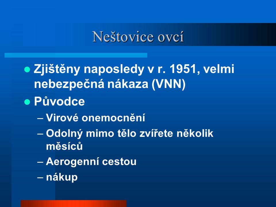 Neštovice ovcí Zjištěny naposledy v r. 1951, velmi nebezpečná nákaza (VNN) Původce. Virové onemocnění.