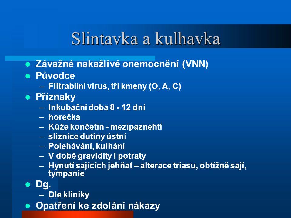 Slintavka a kulhavka Závažné nakažlivé onemocnění (VNN) Původce