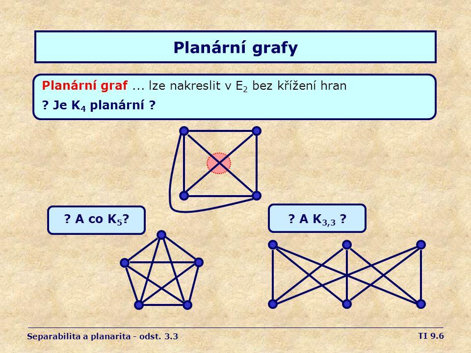 Planární grafy Planární graf ... lze nakreslit v E2 bez křížení hran