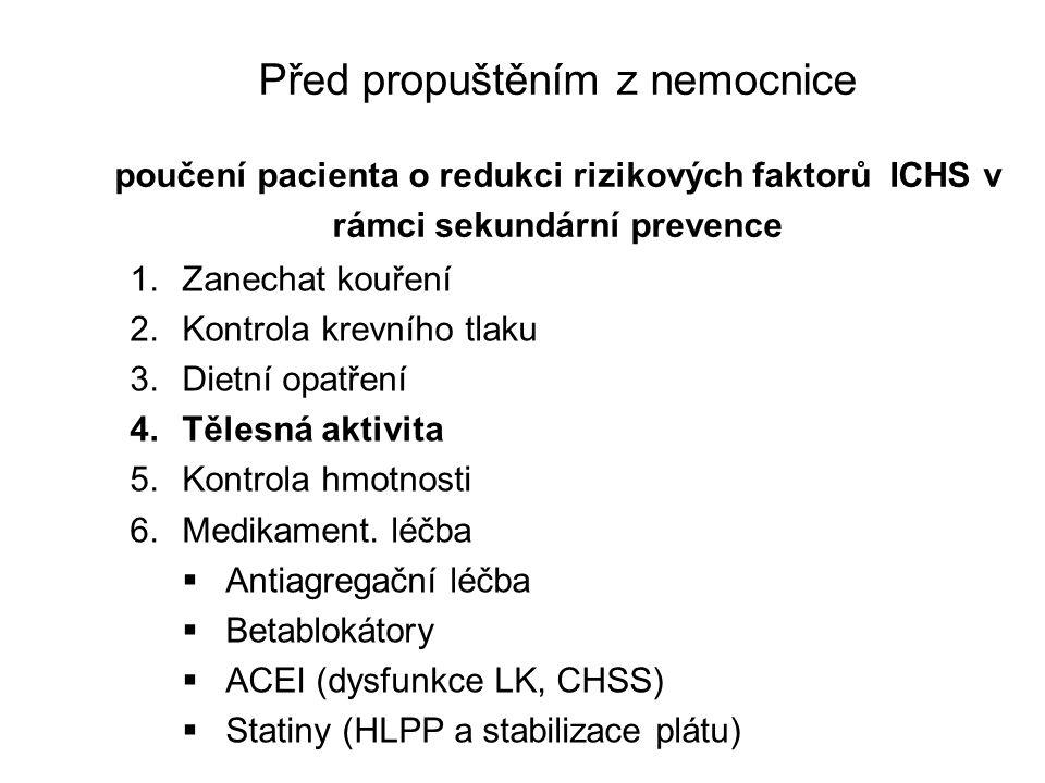 Před propuštěním z nemocnice poučení pacienta o redukci rizikových faktorů ICHS v rámci sekundární prevence
