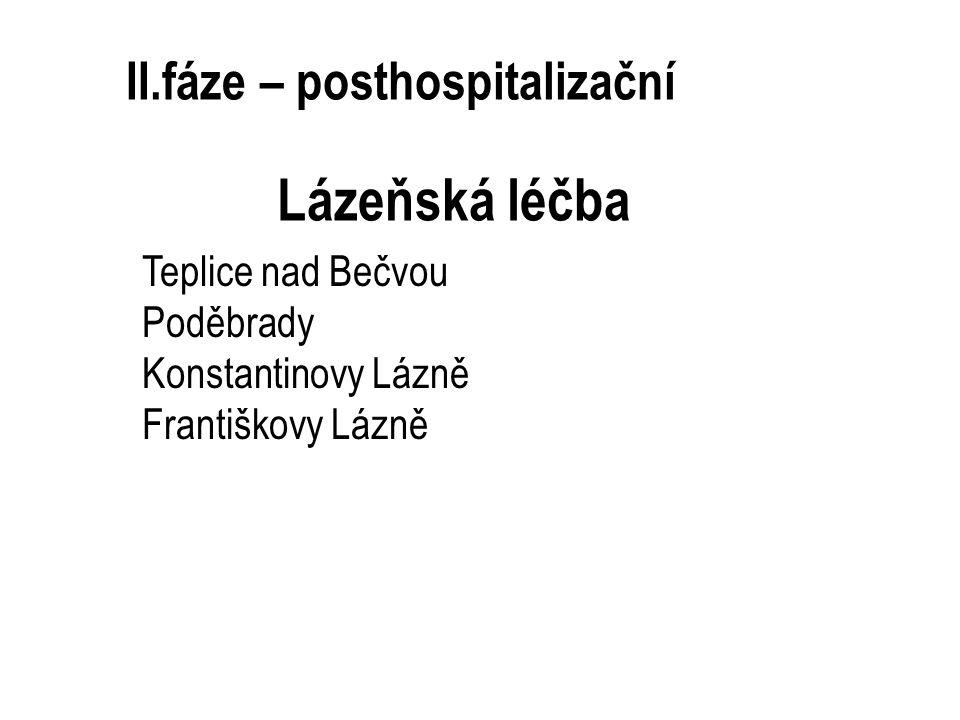 II.fáze – posthospitalizační Lázeňská léčba