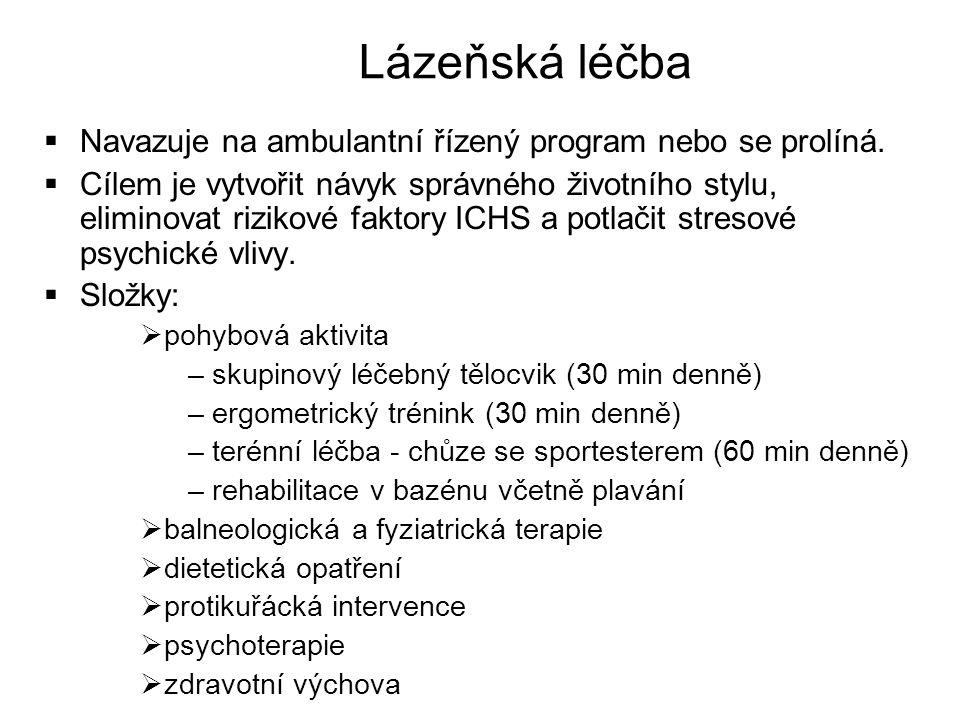 Lázeňská léčba Navazuje na ambulantní řízený program nebo se prolíná.