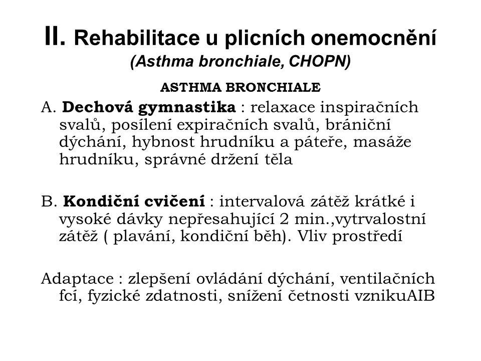 II. Rehabilitace u plicních onemocnění (Asthma bronchiale, CHOPN)