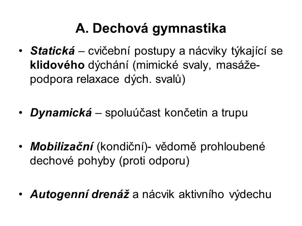 A. Dechová gymnastika Statická – cvičební postupy a nácviky týkající se klidového dýchání (mimické svaly, masáže- podpora relaxace dých. svalů)