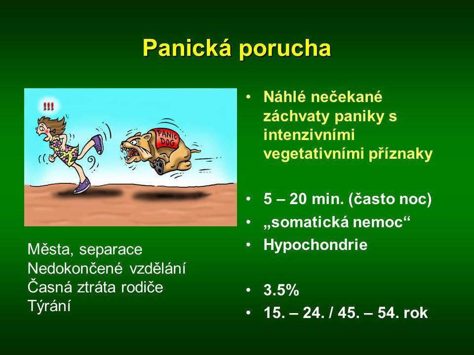 Panická porucha Náhlé nečekané záchvaty paniky s intenzivními vegetativními příznaky. 5 – 20 min. (často noc)