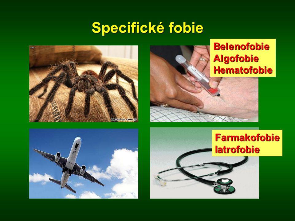 Specifické fobie Belenofobie Algofobie Hematofobie Farmakofobie
