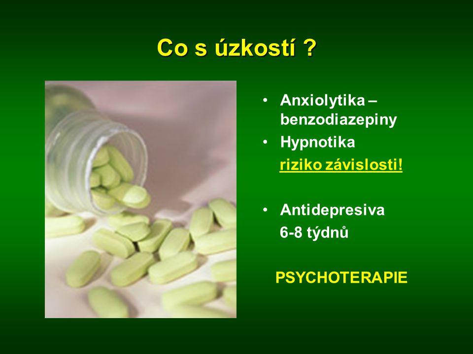 Co s úzkostí Anxiolytika – benzodiazepiny Hypnotika