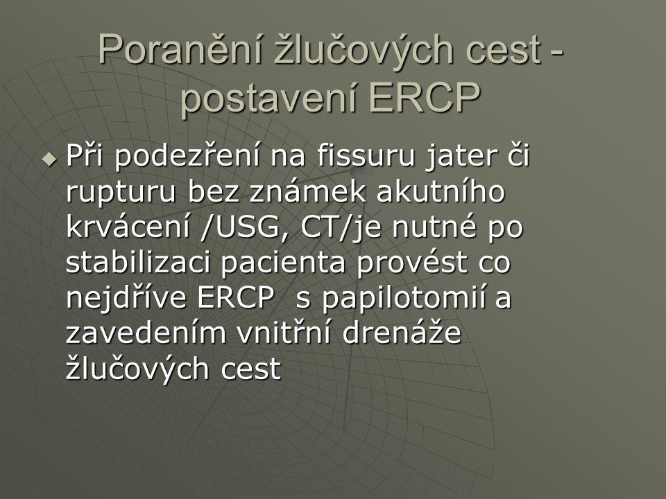 Poranění žlučových cest - postavení ERCP