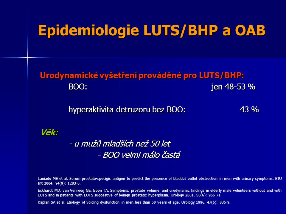 Epidemiologie LUTS/BHP a OAB