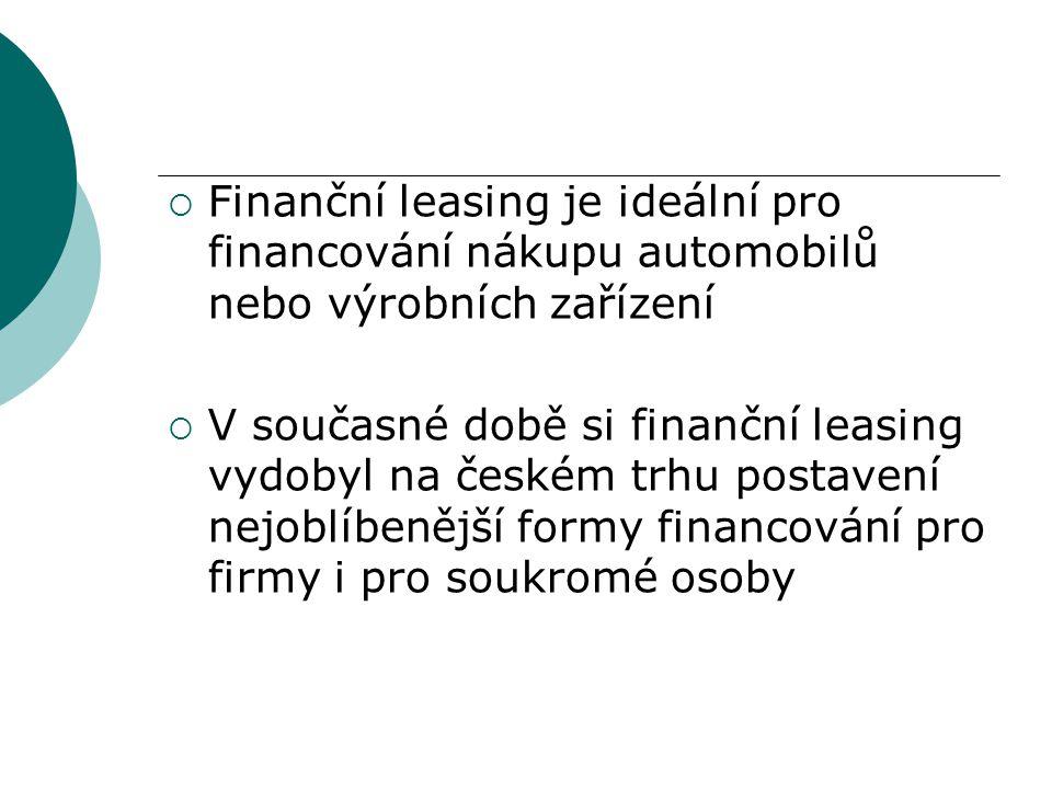 Finanční leasing je ideální pro financování nákupu automobilů nebo výrobních zařízení